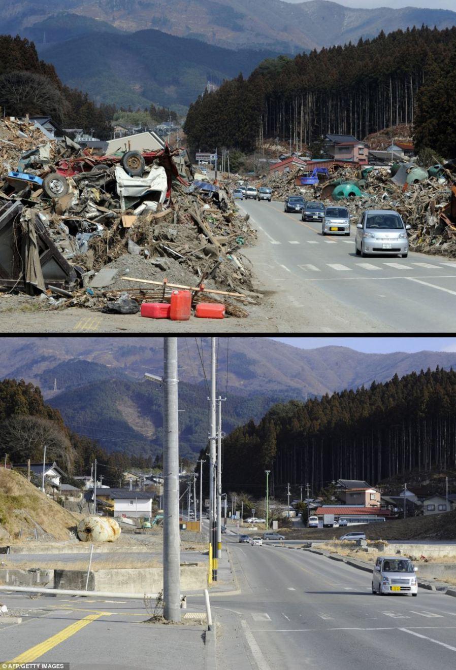 Rikuzentakata, префектура Ивате, 22 марта 2011 года и 15 января 2012