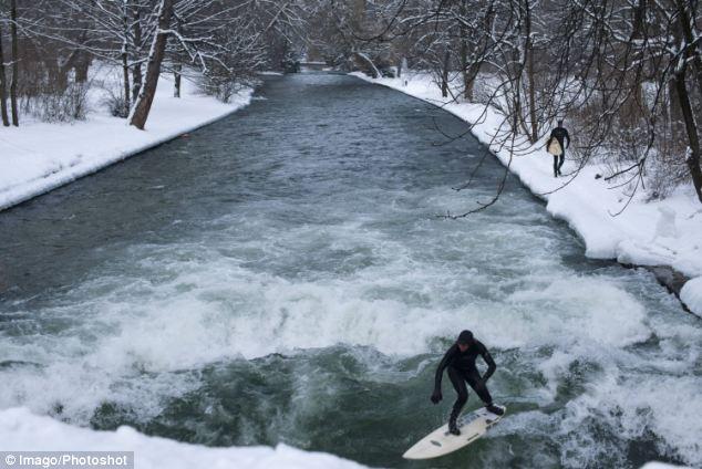 Серфинг на реке Eisbach