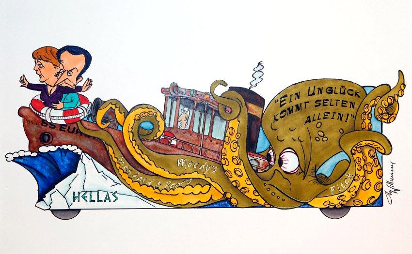 Ангела Меркель и Николя Саркози на Титанике-Европа, корабль ударяется о греческий айсберг и захватывается злым рейтингом-осьминогом