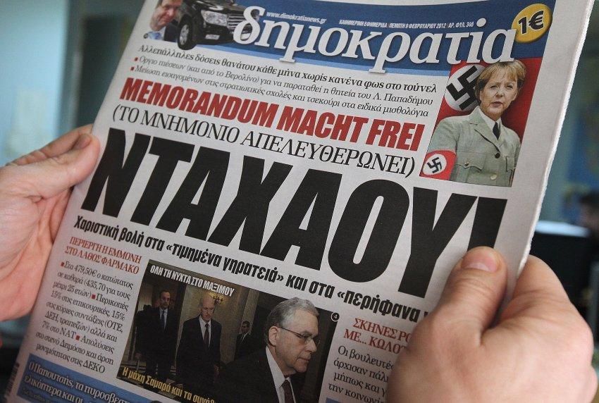 Ангела Меркель в нацистской форме в греческой газете