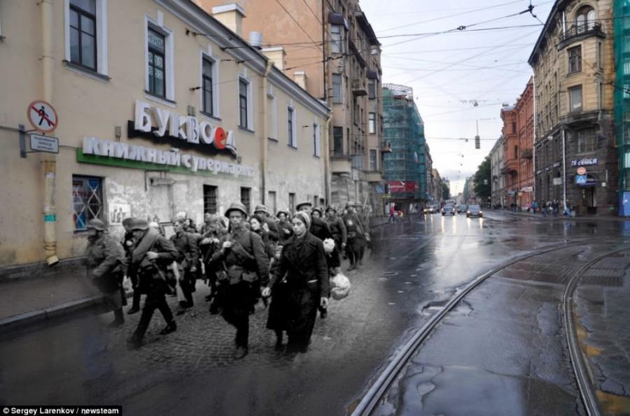 Улицы Ленинграда в 1941 году и Санкт Петербурга в 2011 году