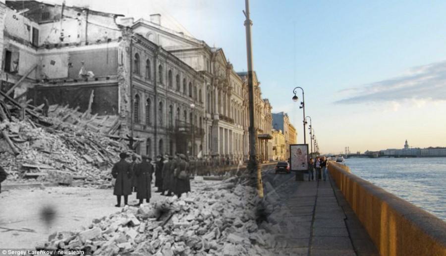 Дворцовая набережная Санкт Петербурга была разрушена в 1941 году