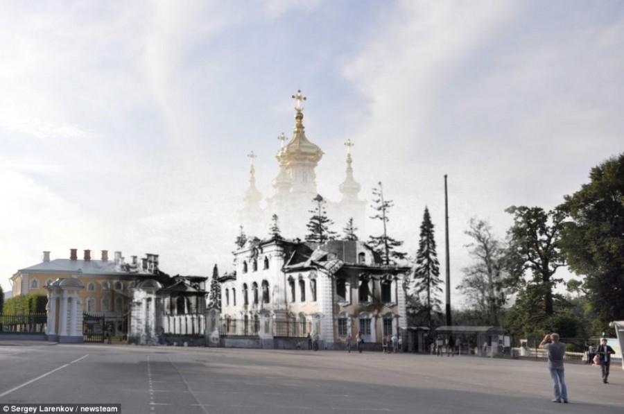 Церковь Петергофа после разрушения в 1943 году