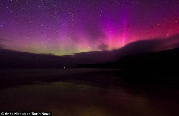 Северное сияние над Шотландией