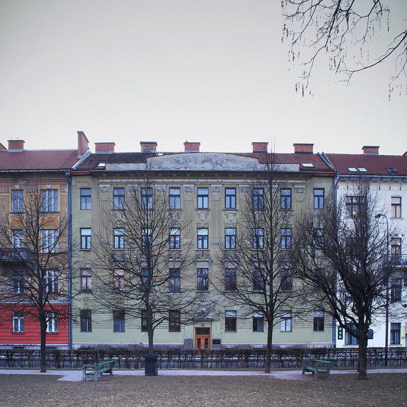 Внешний вид дома в историческом центре Люблян