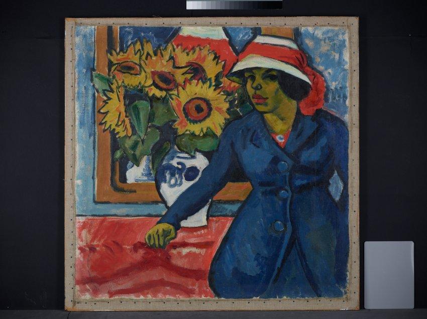 """Картина Пехштайна """"Супруга художника"""" (1912 г) была с обратной стороны картины ..."""