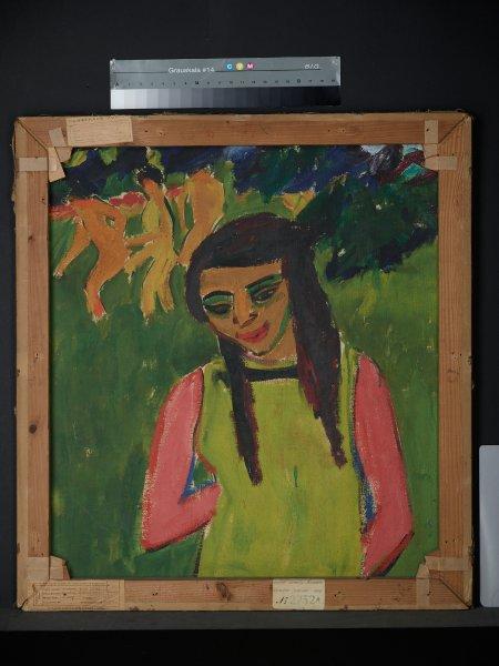 "Картина Кирхнера ""Фрэнци на лугу"" нарисована на обратной стороне картины ..."