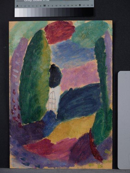 """Картина Явленского """"Эскиз с домом и деревьями"""" с обратной стороны картины ..."""