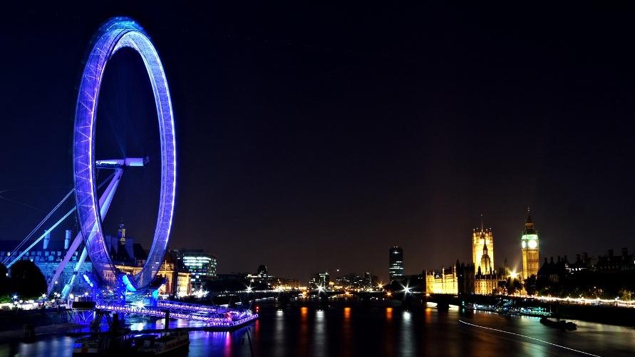 Ночной Лондон, вид на Колесо обозрения