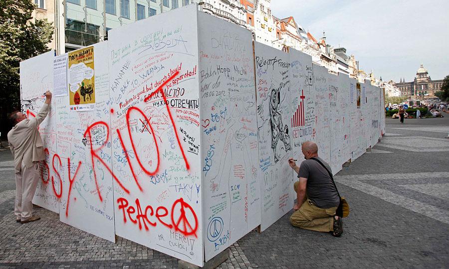 Акция в поддержку Pussy Riot в Праге