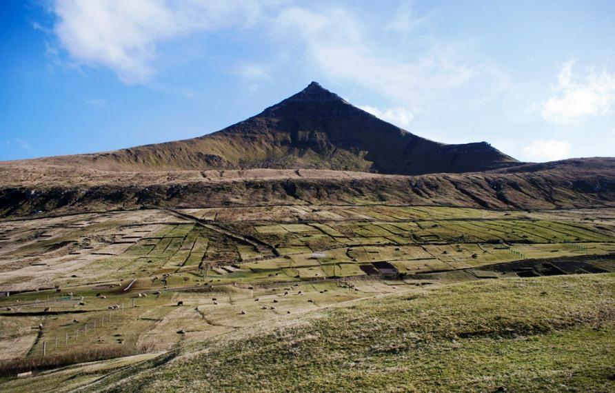 Фермерские угодия в горах на Фарерских островах, фото CC BY Tobias Akerboom