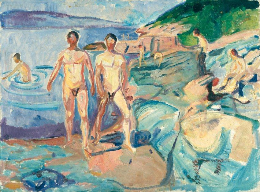 """Купающиеся мужчины"" Эдварда Мунка, 1915 г."