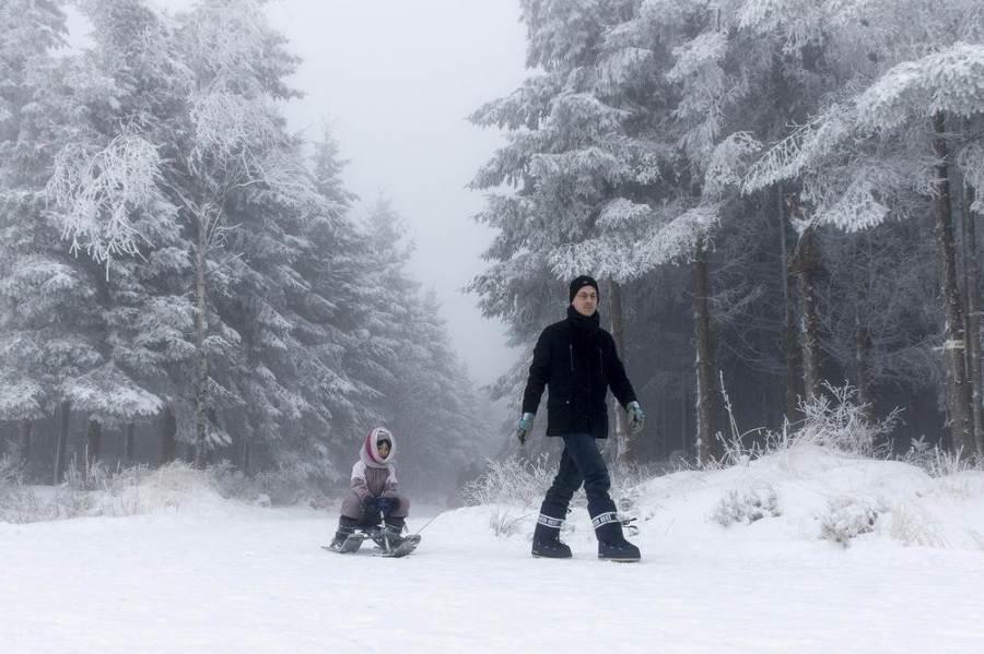 Жители бельгийского Hautes Fagnes на прогулке, фото Nicolas Lambert / AFP - Getty Images
