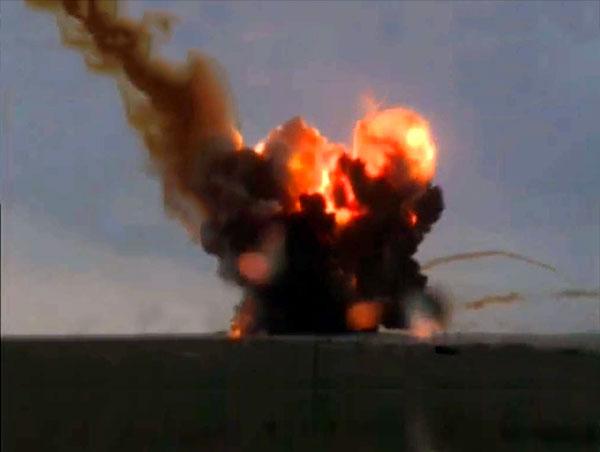 Взрыв ракеты Протон на Байконуре