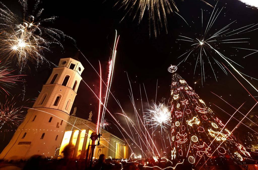 Новогодний фейерверк в Вильнюсе Новый Год 2014