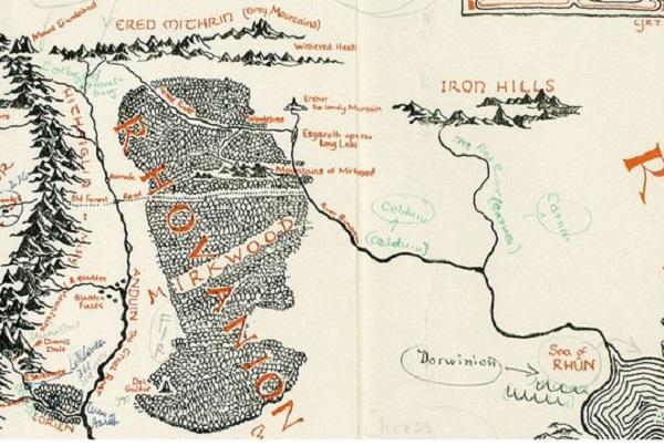 Карта с отметками Толкина