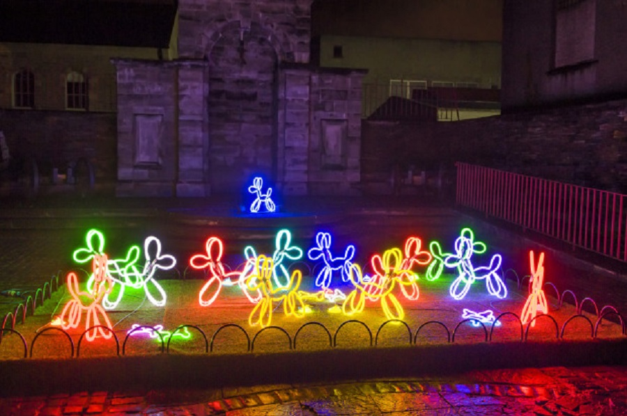 Neon Dogs, Deepa Mann-Kler, Lumiere Derry~Londonderry 2013, Produced by Artichoke, Commissioned by UK City of Culture 2013, photograph by Chris Hill