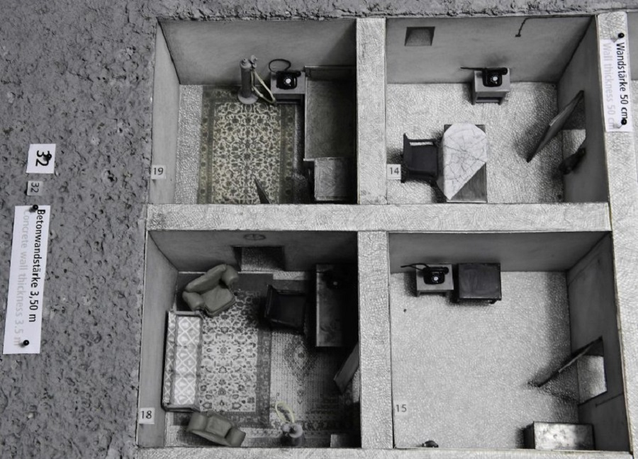 "Adolf Hitler's living and office room (R) as part of a scale model (1:25) of the 1944-built ""Fuehrerbunker"" is presented during a press Berlin Story Bunker"