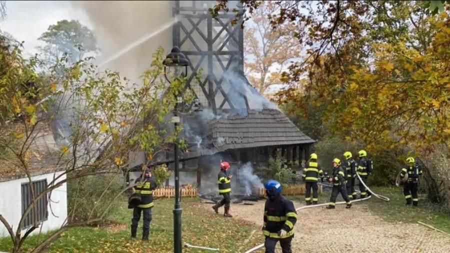 Пожар в Храме Святого Архангела Михаила в Праге